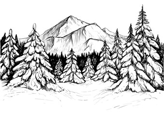 Winter forest in mountains, sketch. Vector hand drawn illustration of snowy firs and mountain peak.