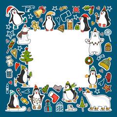 Set of colored Christmas icons