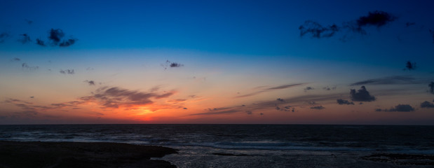 Landscape: Panorama of the sunset over the sea.
