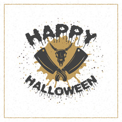 Happy Halloween greeting card. Typography design elements for greeting card or party flyer. Black and golden color theme. Vector illustration