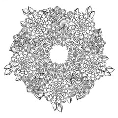 Vector floral mandala in black and white. Round pattern for coloring
