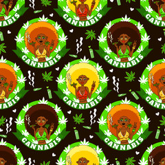 Cannabis girl. Seamless pattern with african american girls, smoke, lighter, marijuanna and hearts. Rastafarian background.