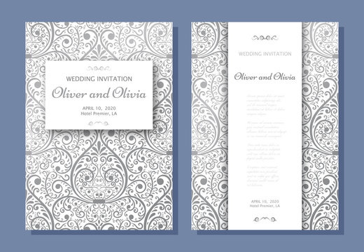 Set of wedding invitation templates. Cover design with silver Damask ornaments. Vector illustration