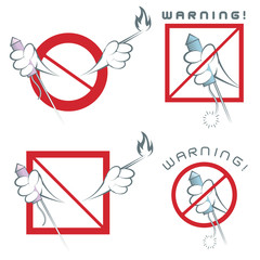an illustration consisting of four different warning images of hands and firecrackers in the form of a symbol or stickers