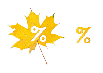 Autumn discounts. Percent sign cut out in wedge sheet