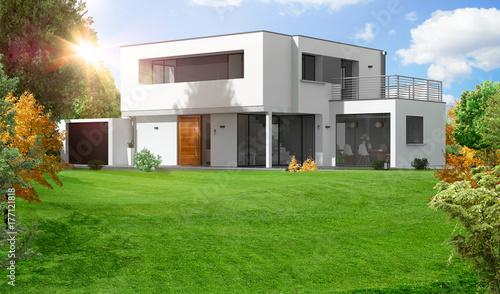 Belle maison moderne d\'architecte à toit plat\