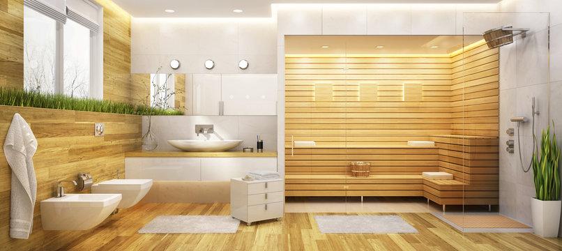 Modern sauna and a bathroom