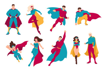 Collection of superheroes. Bundle of men and women with super powers. Set of male and female cartoon or comic characters wearing tight-fitting costumes and capes. Colorful flat vector illustration. Wall mural