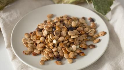 Closeup of fried pumpkin seeds.