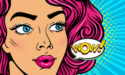 Wow female face. Closeup of sexy surprised young woman with open mouth and pink curly hair and Wow! speech bubble. Vector colorful background in pop art retro comic style. Party invitation poster.