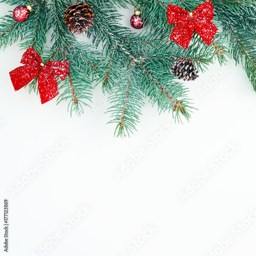 Christmas Tree Bows White.Christmas Card Christmas Card From A Branch Of A Christmas