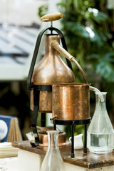 Vintage copper moonshine apparatus