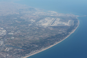 Barcelona Airport and Coast View