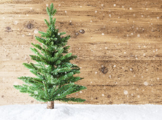 Christmas Tree, Snowflakes, Copy Space, Wooden Background