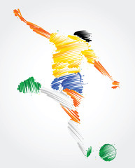 Soccer player ready to kick the ball made of colorful brushstrokes