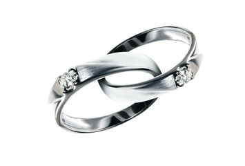 Two Platinum wedding rings with diamond hook together , Isolate on white with Path