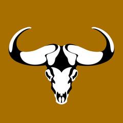 bull head skull vector illustration style flat front