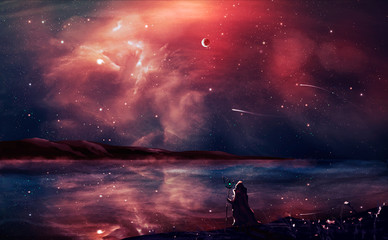 Sci-fi landscape digital painting with nebula, magician, planet, and lake in red color