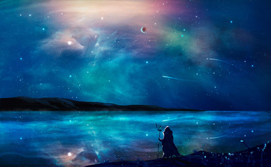 Sci-fi landscape digital painting with nebula, magician, planet, mountain and lake in blue color