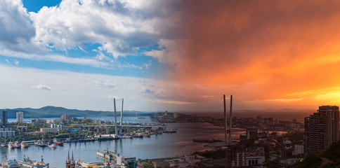 Wall Mural - Vladivostok cityscape - collage image from day to sunset.