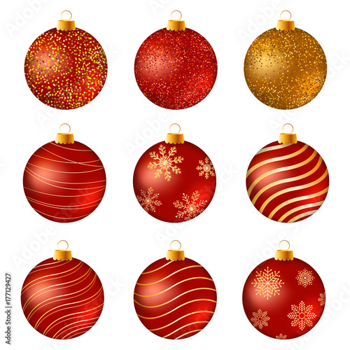 0a3d5d6cb606 Realistic Christmas baubles. Red and gold Christmas balls on white surface.  Set of isolated realistic decorations. Vector illustration.