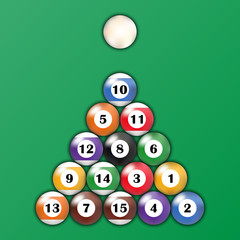 Top view of billiard balls on green background, vector illustration