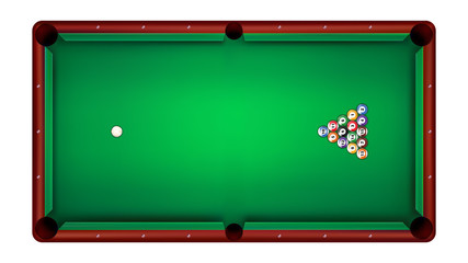 Top view of billiard table and billiard balls, vector illustration