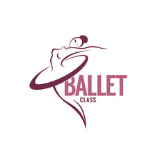 silhouette of beauty ballet dancer, vector logo template