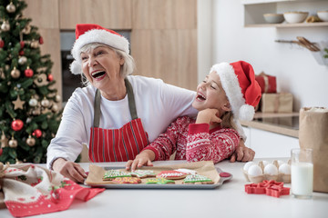 Joyful granny celebrating winter holidays with her grandchild