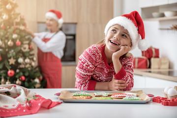 Dreamful child celebrating Christmas at granny home