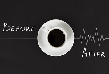Invigorating coffee in the morning awakens the head and causes the heart to beat.