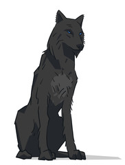 Isolated illustration of black sitting wolf with blue eyes in color
