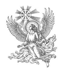 Парящий ангел и рождественская звезда, рисунок тушью, вариант.