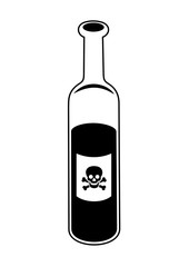 Bottle with alcohol and alcoholic drink. Etiquette and label with skull and bones - drinking as dangerous, harmful and unhealthy activity causing death of drunk drinker