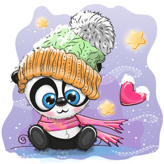 Cute Cartoon Panda in a knitted cap
