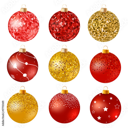 1a78da15b98c Realistic red and gold Christmas balls on white surface. Set of isolated  realistic decorations. Vector illustration.Glitter Christmas baubles.