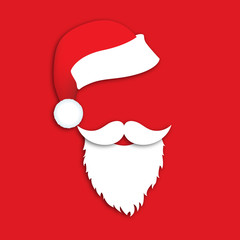 Happy New Year and Merry Christmas. Mask Santa Claus with beard, mustache and hat on a red background. Vector illustration