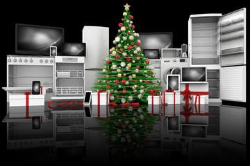 Albero di Natale decorato verde. Regali di Natale tecnologia: elettrodomestici, computer, telefono, smartphone, tablet.
