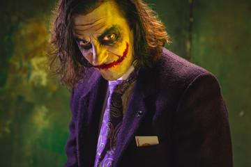 Bloody Halloween theme: crazy maniak face