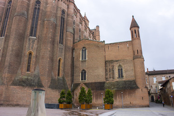 The Cathedral Basilica of Saint Cecilia in Albi, France. Originally built as a fortress and claimed to be the largest brick building in the world. A World Heritage Site since 2010