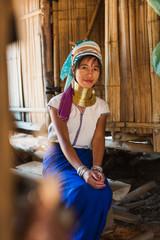Lifestyle portrait of a Long Neck Tribal woman, Thailand.