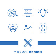 Graphic design, creative package, stationary, software and more, thin line icons set, vector illustration