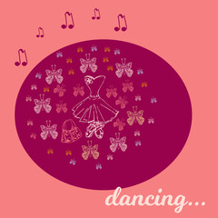 Cute little ballerina set.Doodle vector illustration. .Could use for print or banner