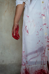 Zombie woman hand blood