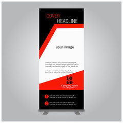 Business Roll Up. Standee Design. Banner Template. Presentation and Brochure Flyer. Vector illustration in Red, White and Black Colors