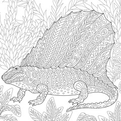 Coloring page of dimetrodon dinosaur - fossil reptile of the Permian period. Freehand sketch drawing for adult antistress coloring book in zentangle style.