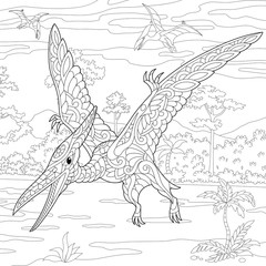 Coloring page of pterodactyl dinosaur - pterosaur of the late Jurassic period. Freehand sketch drawing for adult antistress coloring book in zentangle style.