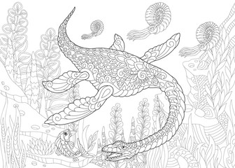 Coloring page of plesiosaurus dinosaur of the Mesozoic era. Freehand sketch drawing for adult antistress coloring book in zentangle style.