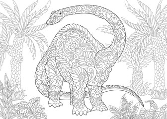 Coloring page of brontosaurus dinosaur (brachiosaurus diplodocus) of the late Jurassic period. Freehand sketch drawing for adult antistress coloring book in zentangle style.