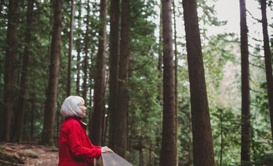 Attractive mature woman looking out on a hike through old growth forest